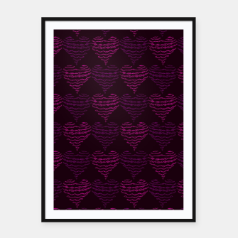 Thumbnail image of Squiggly Heart Pattern Purple Pink Framed poster, Live Heroes