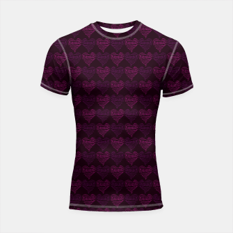 Thumbnail image of Squiggly Heart Pattern Purple Pink Shortsleeve rashguard, Live Heroes