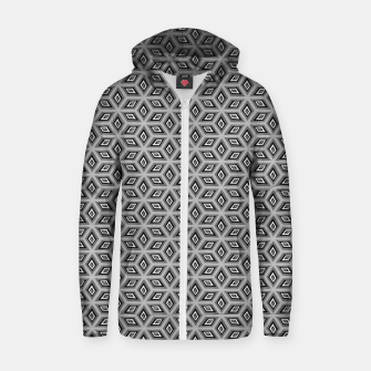Thumbnail image of Silver and Black Diamond Cubes Pattern Zip up hoodie, Live Heroes