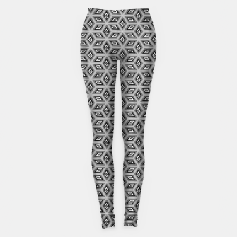 Thumbnail image of Silver and Black Diamond Cubes Pattern Leggings, Live Heroes