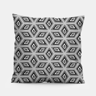 Thumbnail image of Silver and Black Diamond Cubes Pattern Pillow, Live Heroes