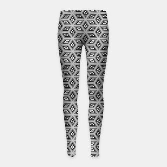 Miniatur Silver and Black Diamond Cubes Pattern Girl's leggings, Live Heroes