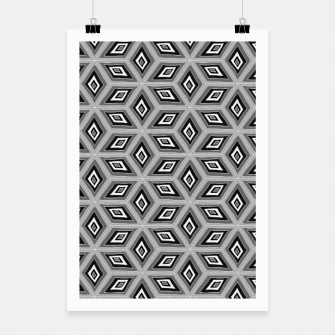 Thumbnail image of Silver and Black Diamond Cubes Pattern Poster, Live Heroes