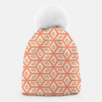 Thumbnail image of Living Coral Diamond Cubes Pattern Beanie, Live Heroes