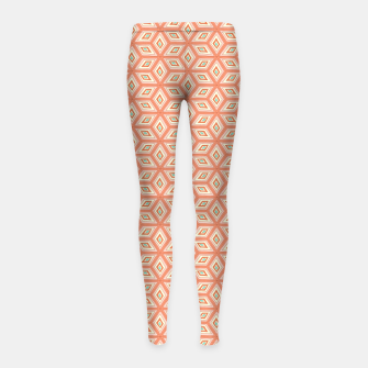 Miniatur Living Coral Diamond Cubes Pattern Girl's leggings, Live Heroes