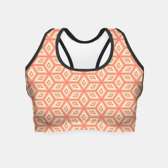 Thumbnail image of Living Coral Diamond Cubes Pattern Crop Top, Live Heroes