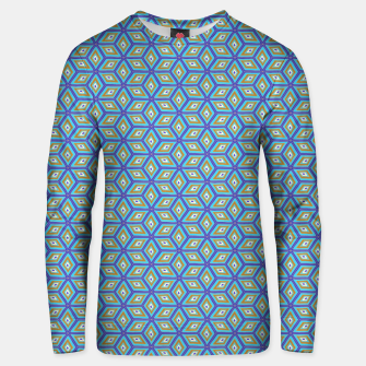 Thumbnail image of Blue and Gold Diamond Cubes Pattern Unisex sweater, Live Heroes