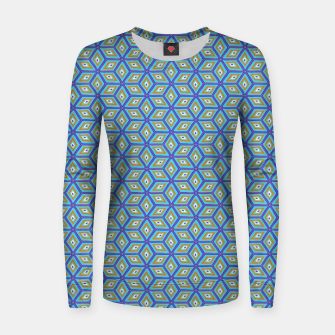 Thumbnail image of Blue and Gold Diamond Cubes Pattern Women sweater, Live Heroes