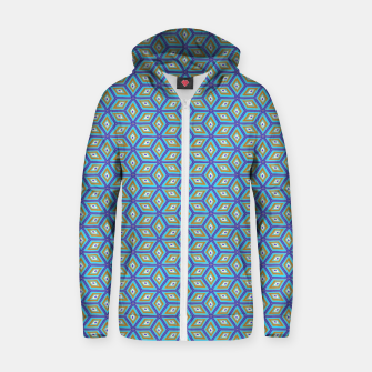 Thumbnail image of Blue and Gold Diamond Cubes Pattern Zip up hoodie, Live Heroes