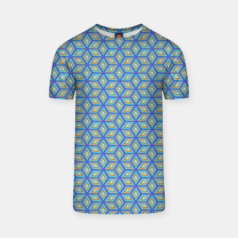 Thumbnail image of Blue and Gold Diamond Cubes Pattern T-shirt, Live Heroes