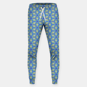 Thumbnail image of Blue and Gold Diamond Cubes Pattern Sweatpants, Live Heroes