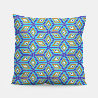 Thumbnail image of Blue and Gold Diamond Cubes Pattern Pillow, Live Heroes