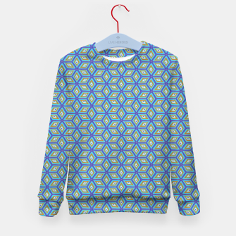 Thumbnail image of Blue and Gold Diamond Cubes Pattern Kid's sweater, Live Heroes