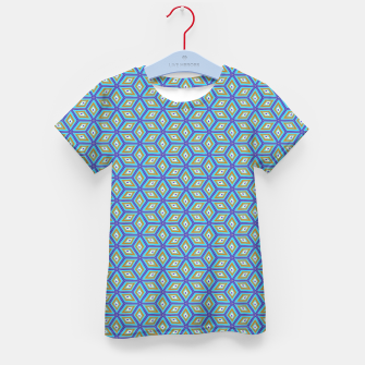 Thumbnail image of Blue and Gold Diamond Cubes Pattern Kid's t-shirt, Live Heroes
