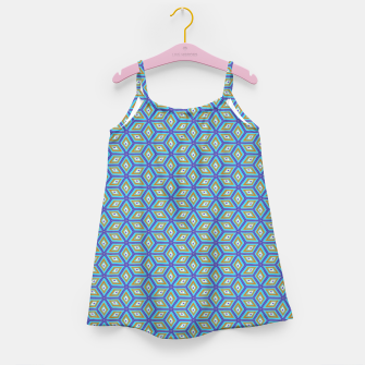 Thumbnail image of Blue and Gold Diamond Cubes Pattern Girl's dress, Live Heroes