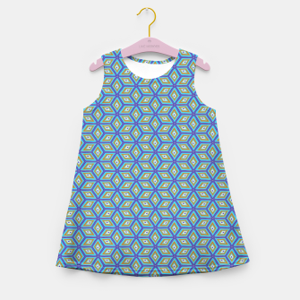 Thumbnail image of Blue and Gold Diamond Cubes Pattern Girl's summer dress, Live Heroes