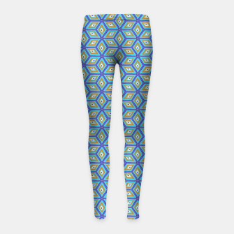 Miniatur Blue and Gold Diamond Cubes Pattern Girl's leggings, Live Heroes
