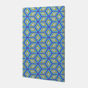 Thumbnail image of Blue and Gold Diamond Cubes Pattern Canvas, Live Heroes