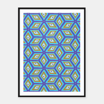 Miniature de image de Blue and Gold Diamond Cubes Pattern Framed poster, Live Heroes