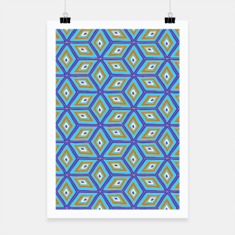 Thumbnail image of Blue and Gold Diamond Cubes Pattern Poster, Live Heroes
