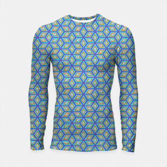 Miniature de image de Blue and Gold Diamond Cubes Pattern Longsleeve rashguard , Live Heroes