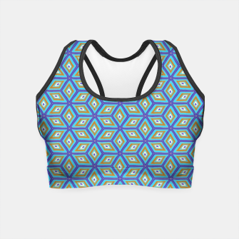 Imagen en miniatura de Blue and Gold Diamond Cubes Pattern Crop Top, Live Heroes