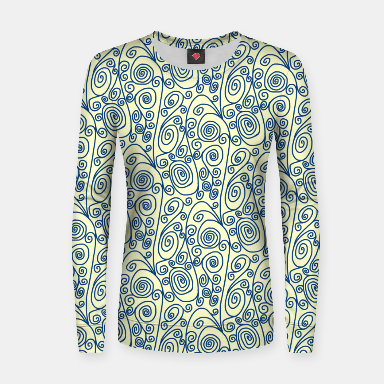 Image of Blue Curls on Yellow Abstract Art Women sweater - Live Heroes
