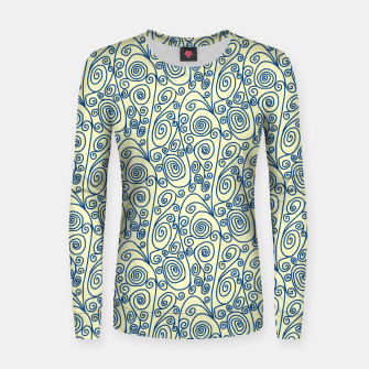 Thumbnail image of Blue Curls on Yellow Abstract Art Women sweater, Live Heroes