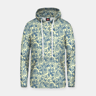 Thumbnail image of Blue Curls on Yellow Abstract Art Hoodie, Live Heroes