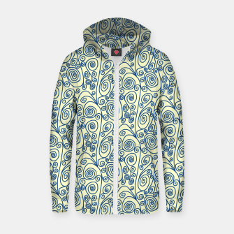 Blue Curls on Yellow Abstract Art Zip up hoodie thumbnail image