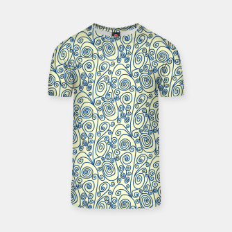 Thumbnail image of Blue Curls on Yellow Abstract Art T-shirt, Live Heroes