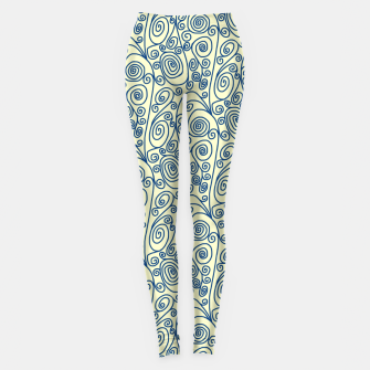 Thumbnail image of Blue Curls on Yellow Abstract Art Leggings, Live Heroes