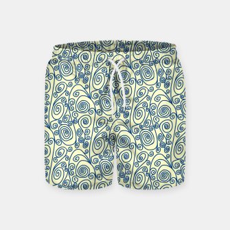 Blue Curls on Yellow Abstract Art Swim Shorts thumbnail image