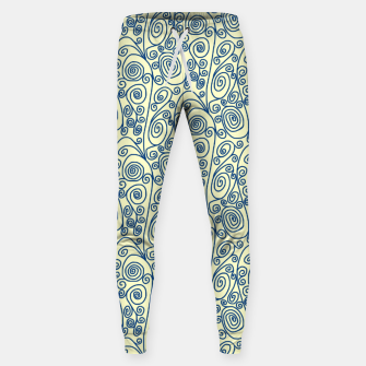 Blue Curls on Yellow Abstract Art Sweatpants thumbnail image
