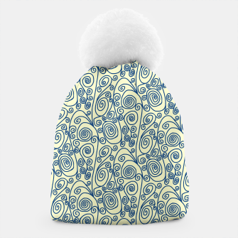 Thumbnail image of Blue Curls on Yellow Abstract Art Beanie, Live Heroes