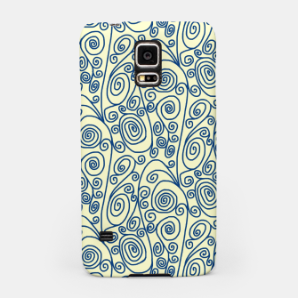 Thumbnail image of Blue Curls on Yellow Abstract Art Samsung Case, Live Heroes