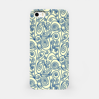 Thumbnail image of Blue Curls on Yellow Abstract Art iPhone Case, Live Heroes