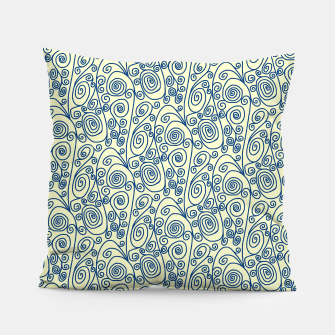 Thumbnail image of Blue Curls on Yellow Abstract Art Pillow, Live Heroes