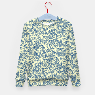 Blue Curls on Yellow Abstract Art Kid's sweater thumbnail image