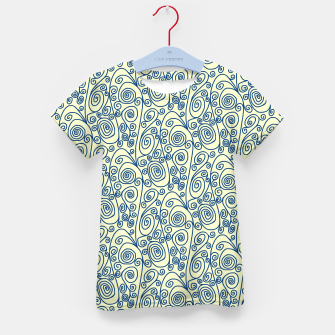 Blue Curls on Yellow Abstract Art Kid's t-shirt thumbnail image