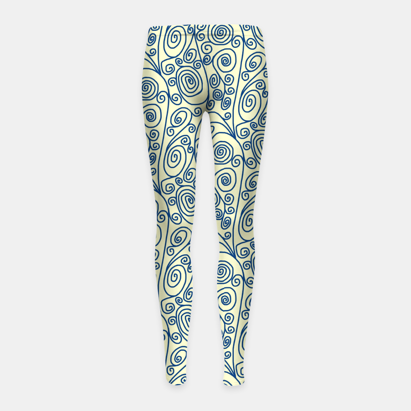 Image of Blue Curls on Yellow Abstract Art Girl's leggings - Live Heroes