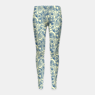 Thumbnail image of Blue Curls on Yellow Abstract Art Girl's leggings, Live Heroes