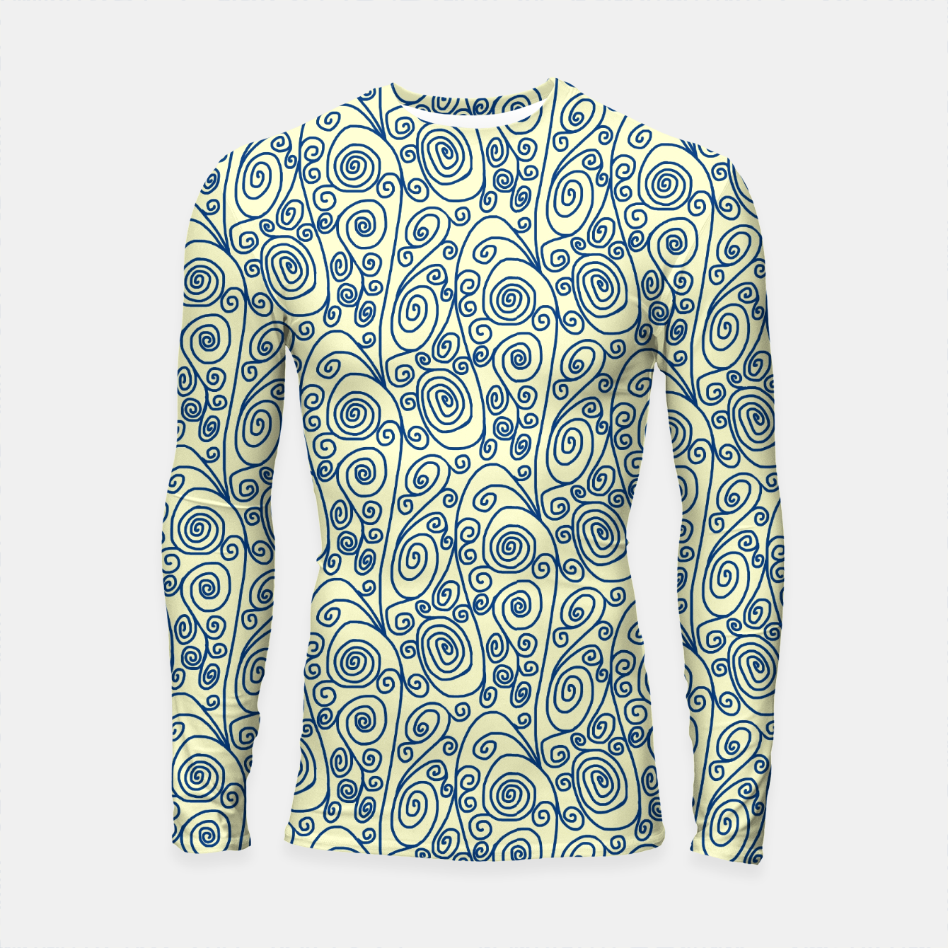 Image of Blue Curls on Yellow Abstract Art Longsleeve rashguard  - Live Heroes