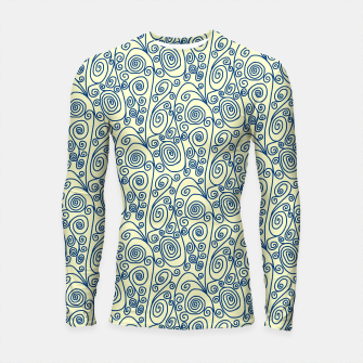 Thumbnail image of Blue Curls on Yellow Abstract Art Longsleeve rashguard , Live Heroes