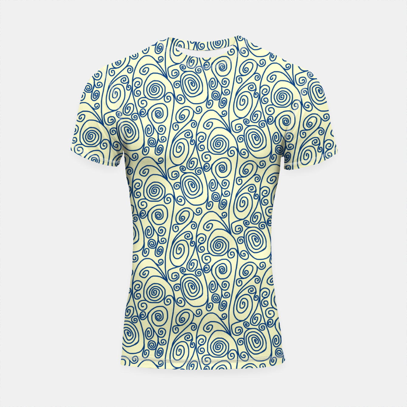 Image of Blue Curls on Yellow Abstract Art Shortsleeve rashguard - Live Heroes
