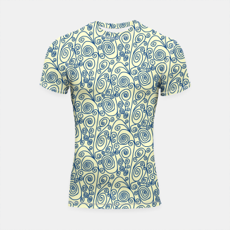Thumbnail image of Blue Curls on Yellow Abstract Art Shortsleeve rashguard, Live Heroes
