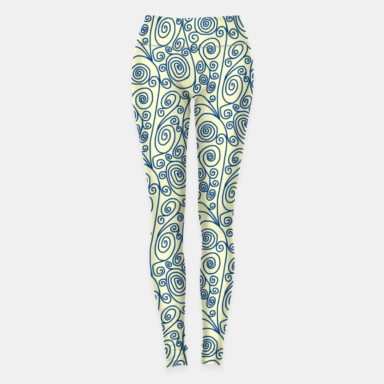 Image of Blue Curls on Yellow Abstract Art Leggings - Live Heroes