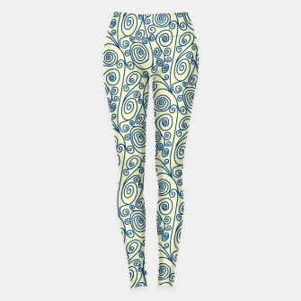 Blue Curls on Yellow Abstract Art Leggings thumbnail image