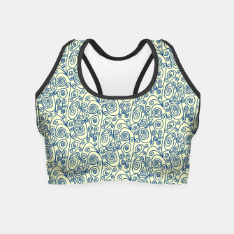 Blue Curls on Yellow Abstract Art Crop Top thumbnail image