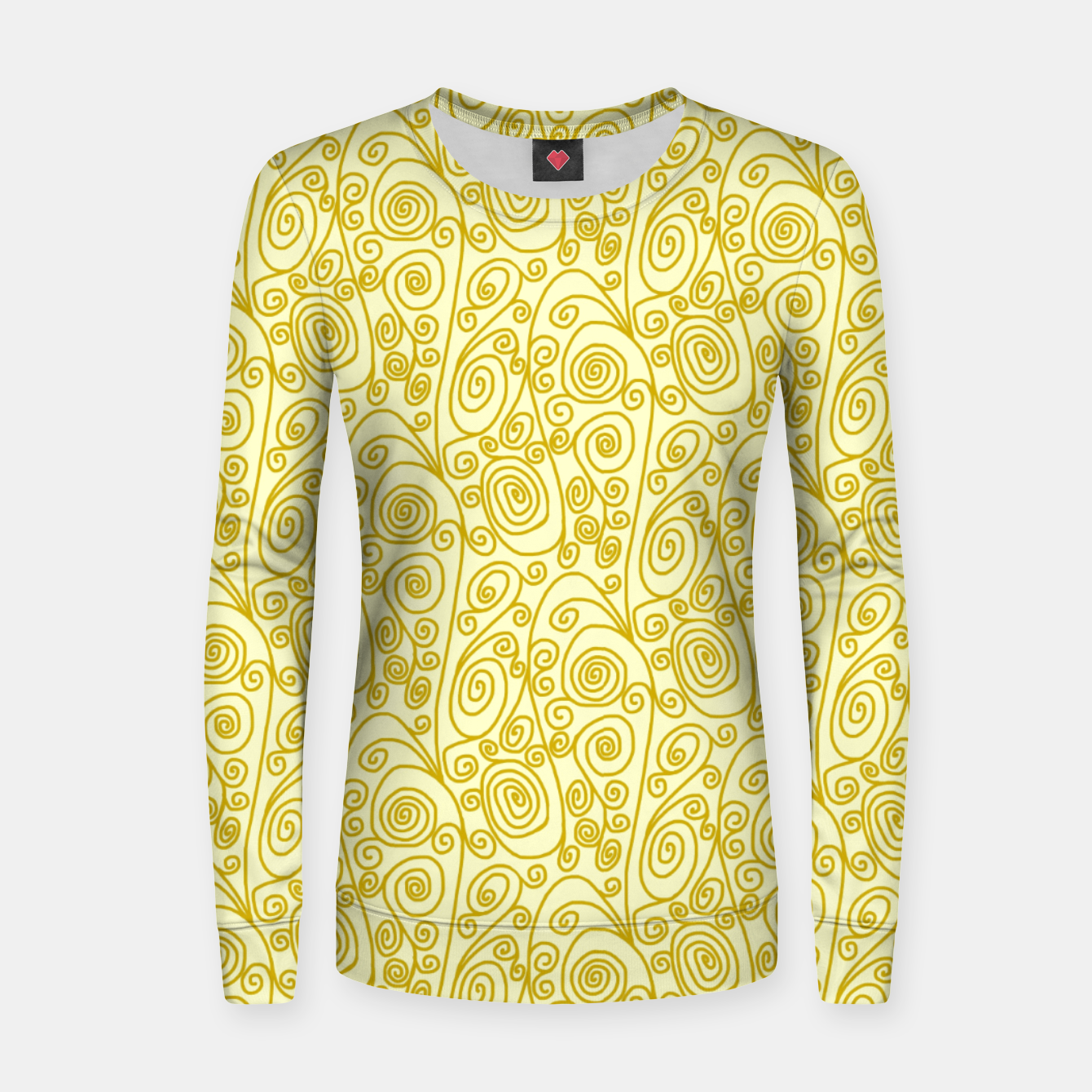 Image of Golden Curls on Yellow Doodle Art  Women sweater - Live Heroes